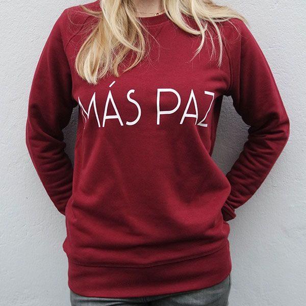 trui organisch katoen bordeaux rood tekst wit mas paz model