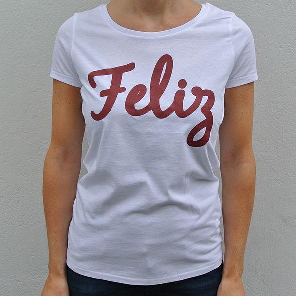 White organic shirt Feliz front