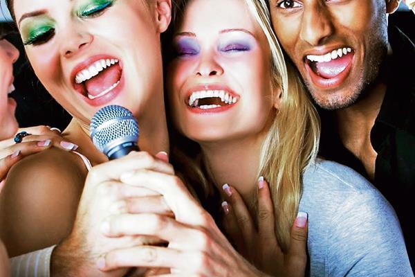 singing girls boy microphone smiling
