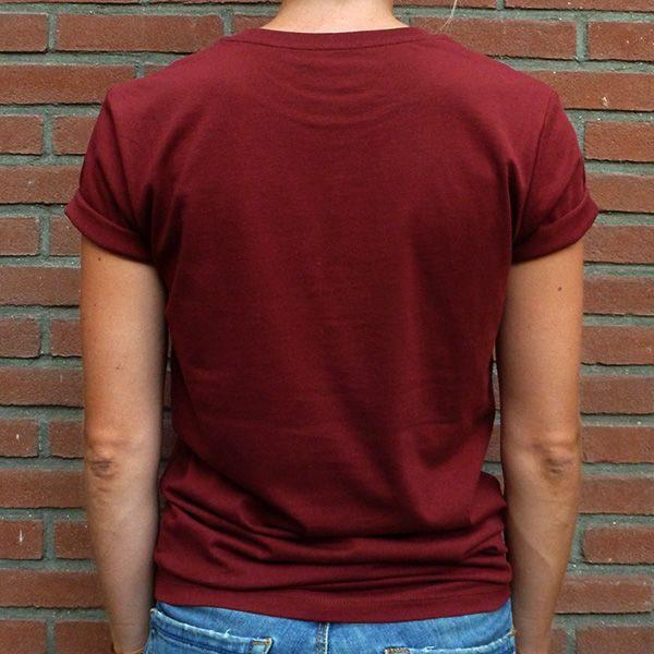 Amor por favor burgundy unisex shirt organic cotton back
