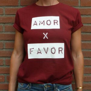 Amor por favor burgundy unisex shirt organic cotton front