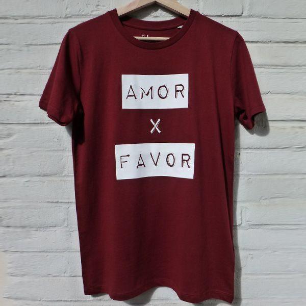 Amor por favor burgundy unisex shirt organic cotton