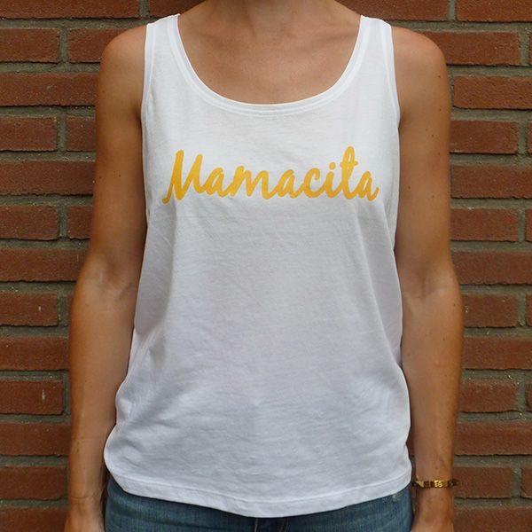 Mamacita yellow on white tanktop front
