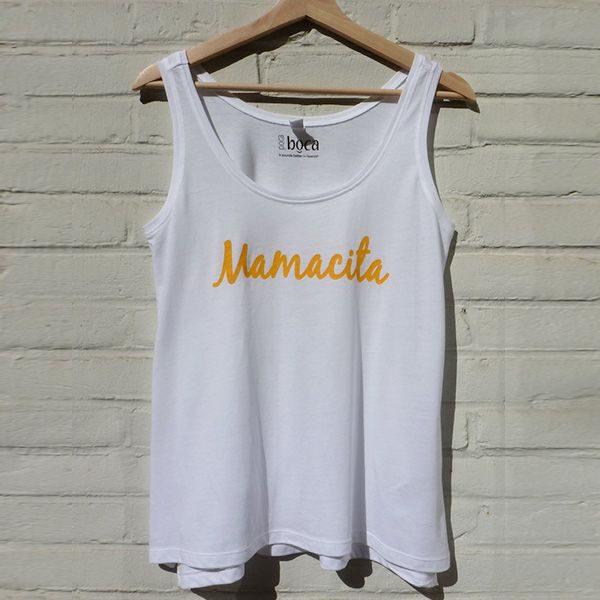 Mamacita yellow on white tanktop