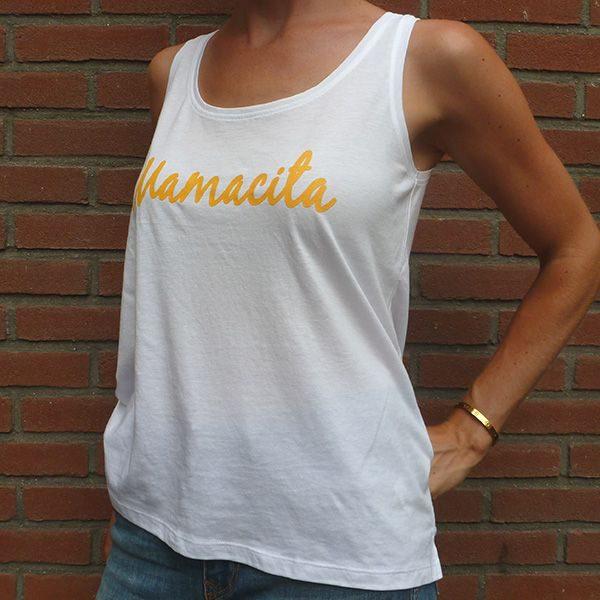 Mamacita yellow on white tanktop side