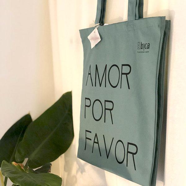 Verantwoorde shopper, biologisch katoenen tas Amor por favor
