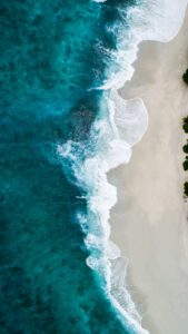 Sea with waves from above